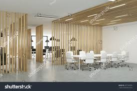 Interior Partitions Side View Open Office Interior Wooden Stock Illustration 457745785