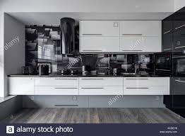 black walls white kitchen cabinets modern kitchen with white cupboards and black wall tiles