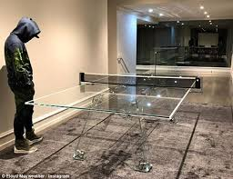 Table Tennis Meeting Table Mayweather Fools Around On 21 000 Glass Ping Pong Table Daily