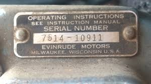 identification tag with serial number 1954 evinrude fleetwin 7 5