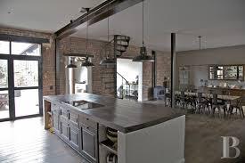 fabulous vintage industrial kitchen features brown color wooden