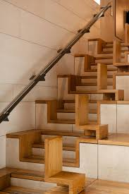 home interior wooden stair step combined white metal stair