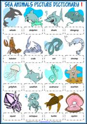sea animals esl printable worksheets and exercises