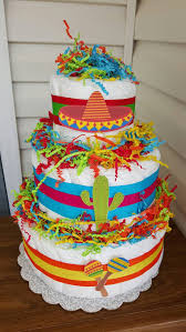 3 tier fiesta theme diaper cake baby shower decoration