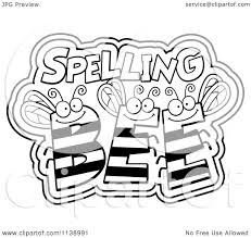 cartoon clipart of black and white spelling bees vector outlined