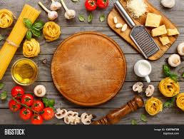 Cooking Board by Spaghetti And Fettuccine With Ingredients For Cooking Pasta On