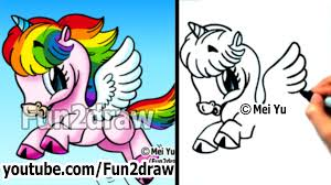art lessons how to draw a rainbow unicorn cute art fun2draw