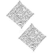 earrings for boys 2 x blinging square cut mens women boys stud 8mm earrings in