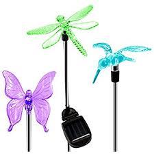 Solar Stake Garden Lights - oxyled solar garden lights hummingbird butterfly u0026 dragonfly