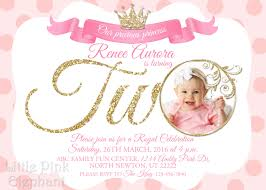 2nd Birthday Invitation Card Second Birthday Invitation Princess Invitation Royal