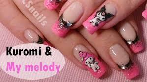 sanrio nail art tutorial kuromi u0026 my melody 3d acrylic nail