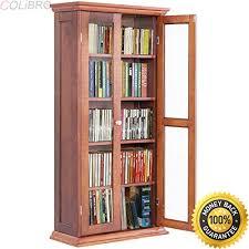 Oak Dvd Storage Cabinet Colibrox 44 5 Wood Media Storage Cabinet Cd Dvd Shelves Tower