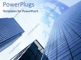 powerpoint template three high blue buildings with clear blue map