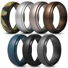 mens rubber wedding bands silicone rings for men 7 pack singles rubber wedding bands ebay