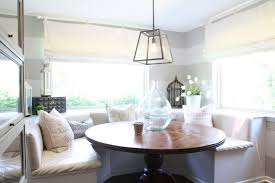 banquette with round table built in banquette cottage dining room m e beck design