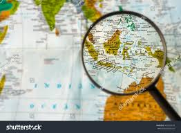 City Map Glasses Map Indonesia Through Magnifying Glass Stock Photo 402992659