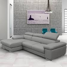 Chaise Lounge Corner Sofa by Nicoletti Lipari Grey Italian Leather Sofa Chaise Left Facing