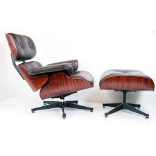 walnut wood brown leather charles eames lounge chair ottoman