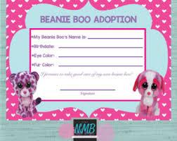 beanie boo adoption certificate