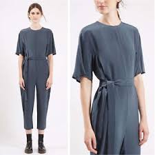 topshop jumpsuit nwt topshop boutique made in uk solid silk judo belted jumpsuit sz