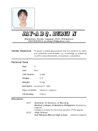 resume format 2017 philippines nurse