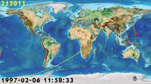 World Map 1980 Timeline Of Earthquakes From January 1980 To January 2012 Youtube