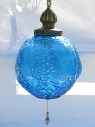 Aqua Pendant Light 60s Vintage Swag Lamp Pendant Light Aqua Blue Glass Globe Shade W