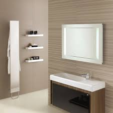 modern floating vanity with metal faucet and square porcelain sink