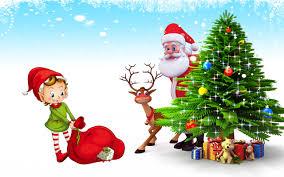 christmas postcard santa claus deer christmas tree with gifts hd