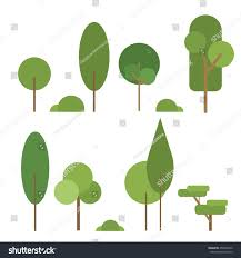 set abstract stylized trees natural trees stock vector 458401672