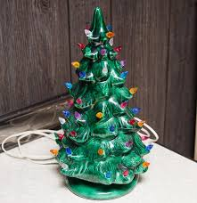 1974 light up ceramic christmas tree with plastic ornaments ebth