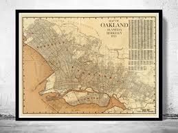Oakland California Map Old Map Oakland Alameda Berkeley California 1925