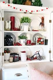 a decked styled christmas hutch room decor dining and holidays