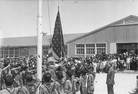Interment Flag Japanese American Boy Scouts In The Granada Internment Camp Raise