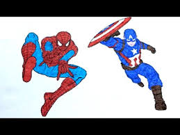 spiderman captain america coloring pages kids learn