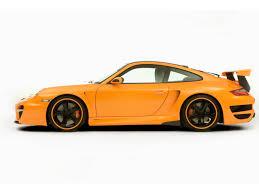 orange porsche 911 turbo 2007 techart gtstreet based on porsche 911 997 turbo side