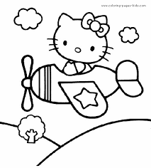 Hello Kitty Color Page Coloring Pages For Kids Cartoon Coloring Characters