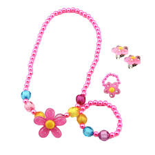 flower necklace earrings images 4pcs kids baby girl 39 s imitation pearls beaded sun flower necklace jpg
