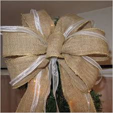 burlap ribbon bow best of etsy christmas tree toppers