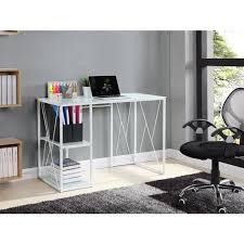 bureau en verre blanc trigo bureau en métal plateau et étagere en verre trempé blanc l