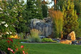 architecture waterfalls for backyards in traditional landscape