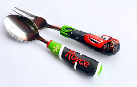 mc queen car personalized gift cutlery set boy spoon and fork