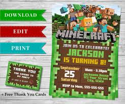 minecraft birthday invitations free template choice image