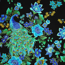 timeless treasures enchanted plume beautiful peacock black gold
