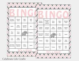 60 elephant baby shower bingo cards 60 prefilled bingo