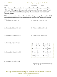 slope of a line worksheets lf 10 writing a slope intercept equation from two points mathops