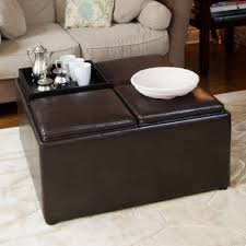 2017 popular brown leather ottoman coffee tables