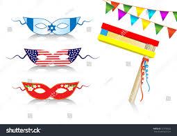 Decorative Sports Flags Birthday International Decorative Elements Flags Masks Stock