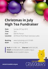 christmas in july high tea fundraiser cancer crusaders