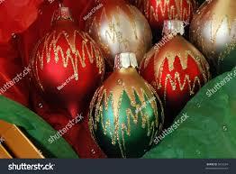 decorative glass ornaments gold box stock photo 5051254